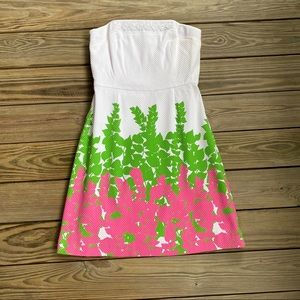 Lilly Pulitzer Strapless Dress White, Pink, Green
